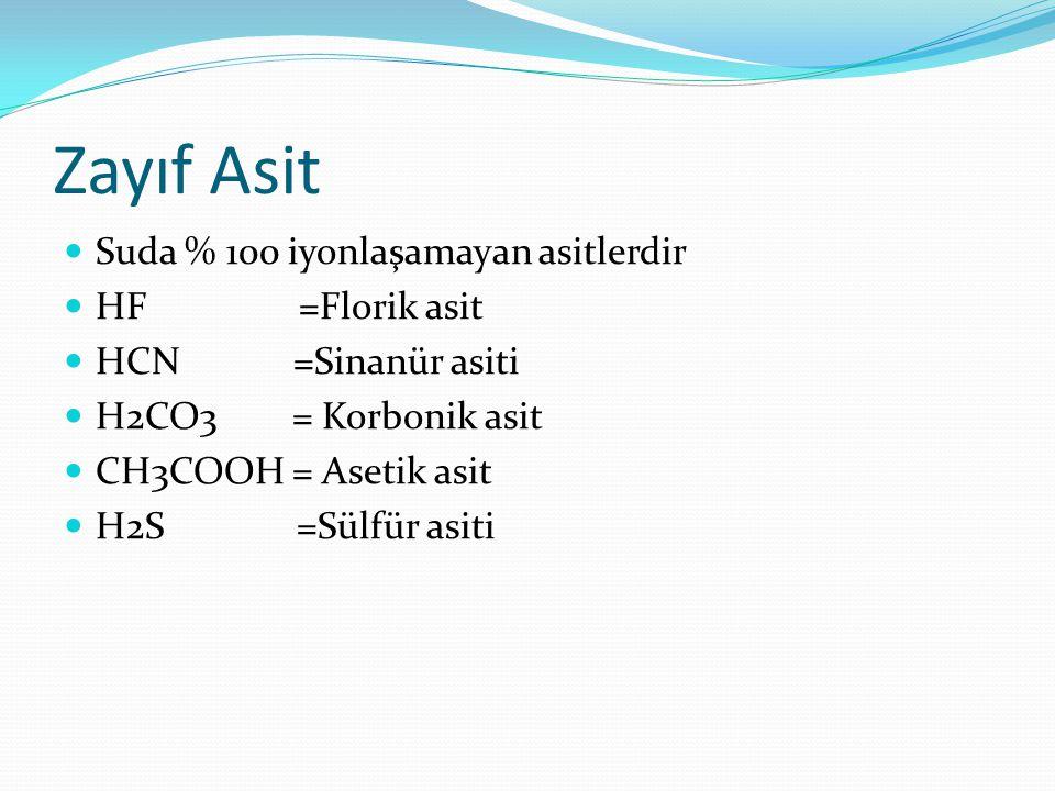 Zayıf Asit Suda % 100 iyonlaşamayan asitlerdir HF =Florik asit