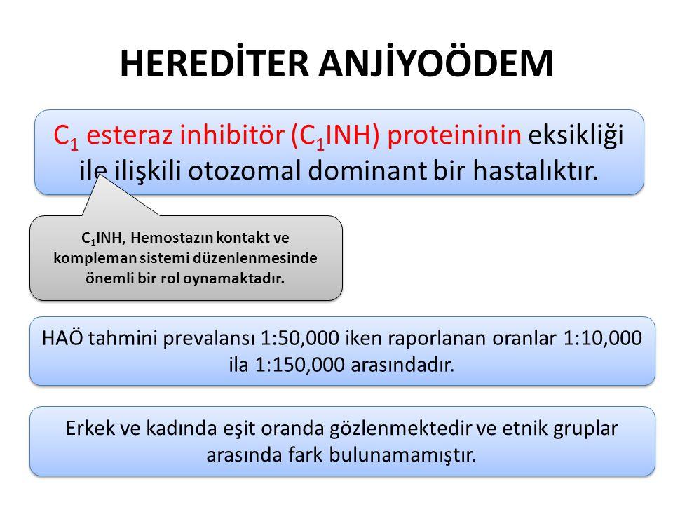 HEREDİTER ANJİYOÖDEM C1 esteraz inhibitör (C1INH) proteininin eksikliği ile ilişkili otozomal dominant bir hastalıktır.