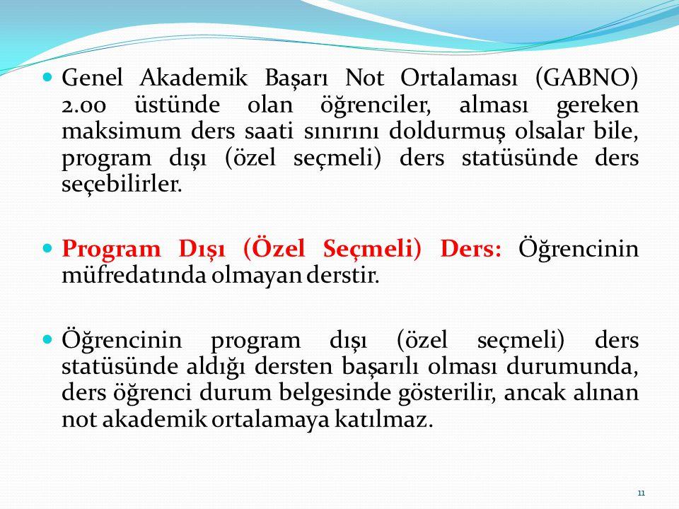 Genel Akademik Başarı Not Ortalaması (GABNO) 2