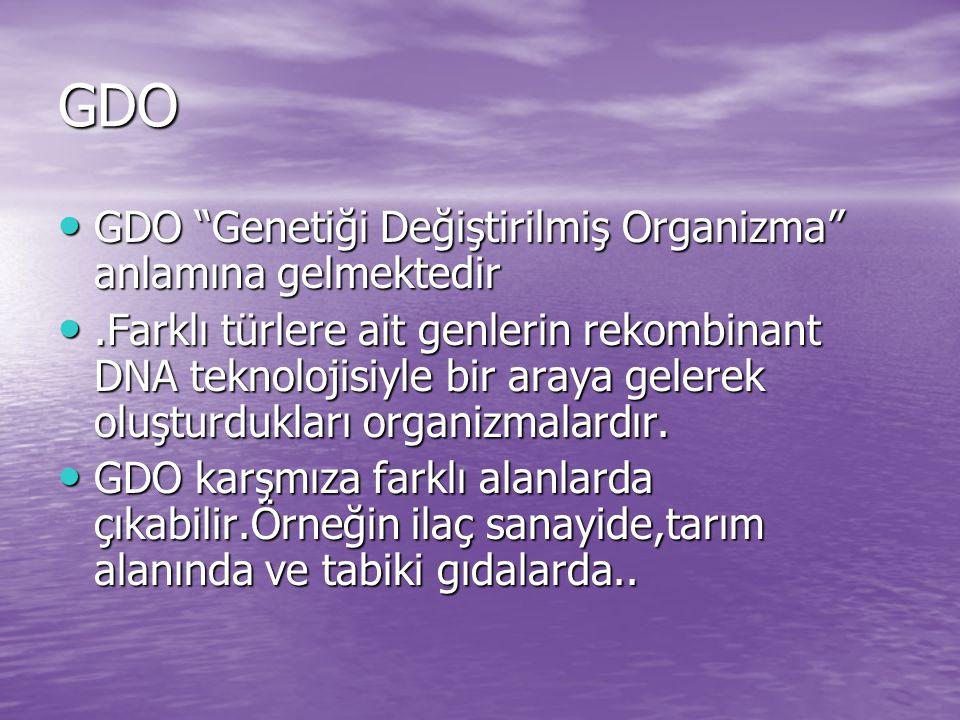 GDO GDO Genetiği Değiştirilmiş Organizma anlamına gelmektedir