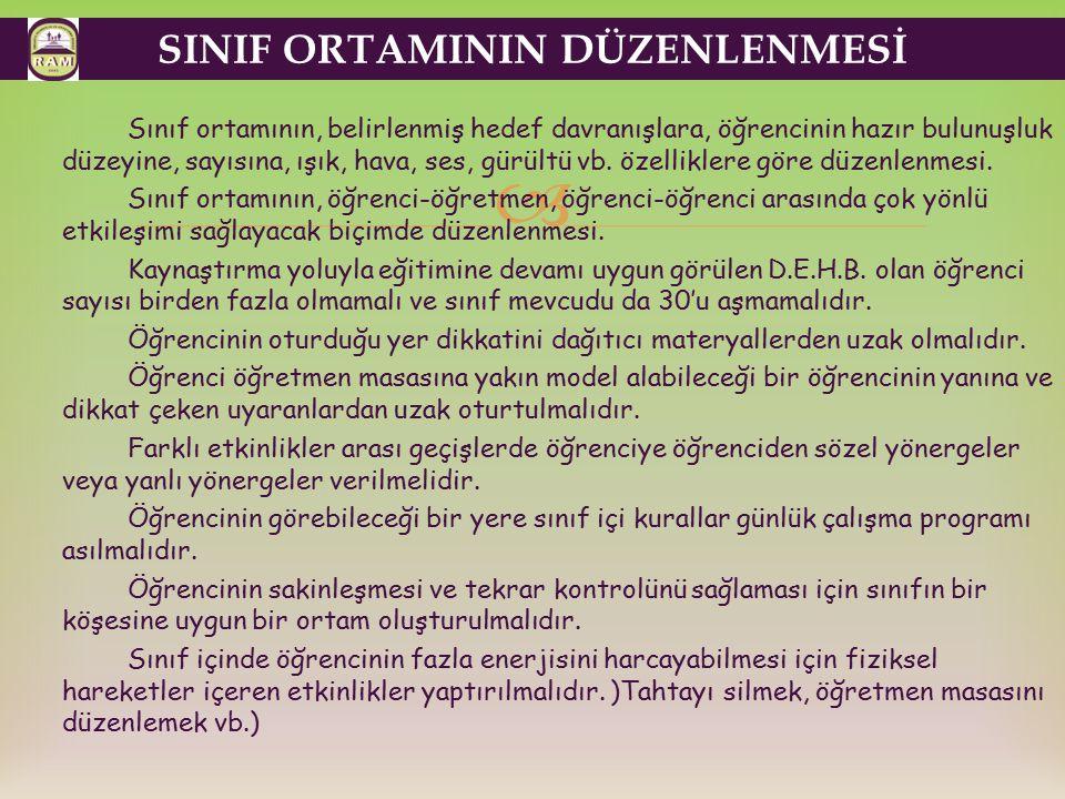 SINIF ORTAMININ DÜZENLENMESİ