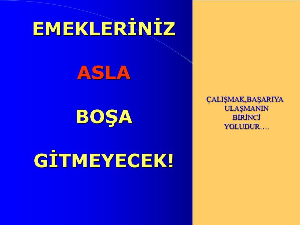 EMEKLERİNİZ ASLA BOŞA GİTMEYECEK!