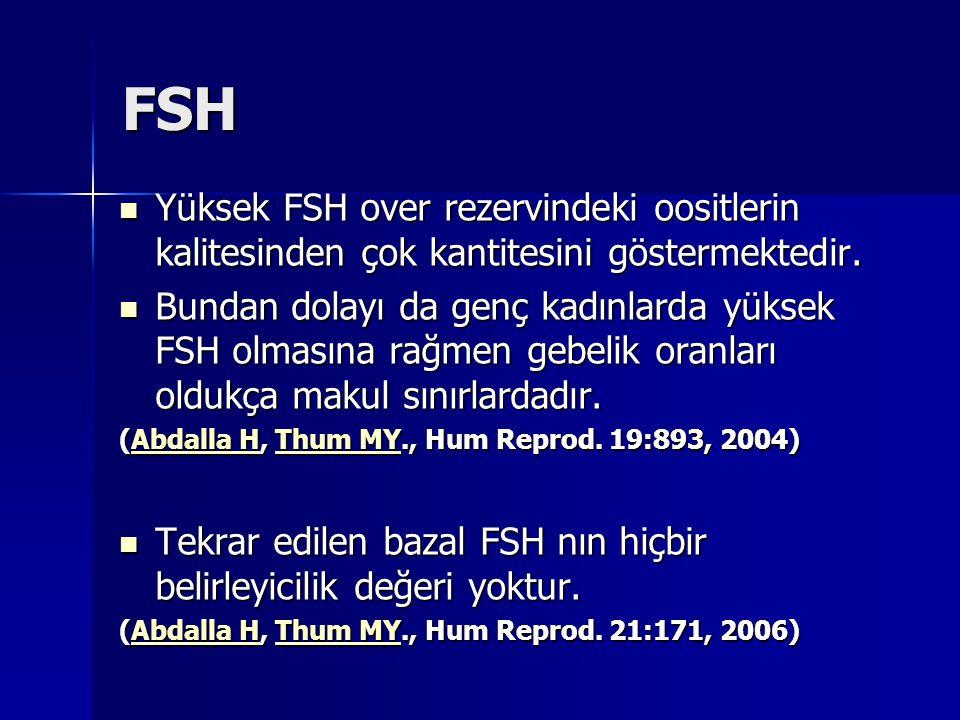 FSH Yüksek FSH over rezervindeki oositlerin kalitesinden çok kantitesini göstermektedir.