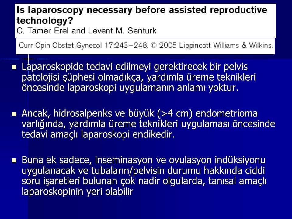 Laparoskopide tedavi edilmeyi gerektirecek bir pelvis patolojisi şüphesi olmadıkça, yardımla üreme teknikleri öncesinde laparoskopi uygulamanın anlamı yoktur.
