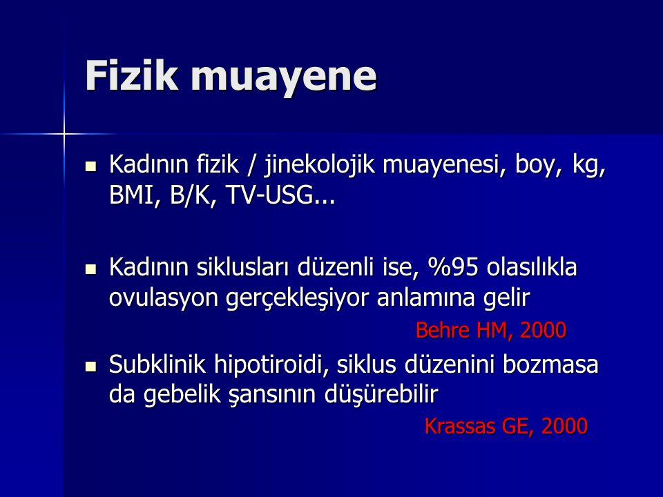Fizik muayene Kadının fizik / jinekolojik muayenesi, boy, kg, BMI, B/K, TV-USG...