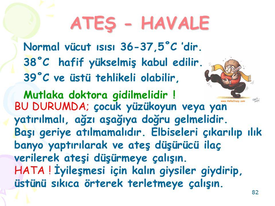 ATEŞ - HAVALE Normal vücut ısısı 36-37,5˚C 'dir.