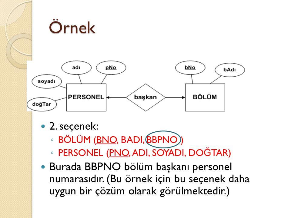 Örnek 2. seçenek: BÖLÜM (BNO, BADI, BBPNO ) PERSONEL (PNO, ADI, SOYADI, DOĞTAR)