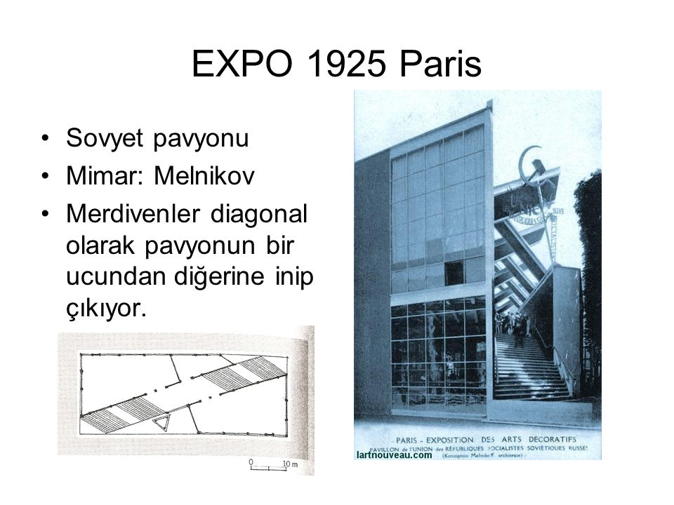 EXPO 1925 Paris Sovyet pavyonu Mimar: Melnikov
