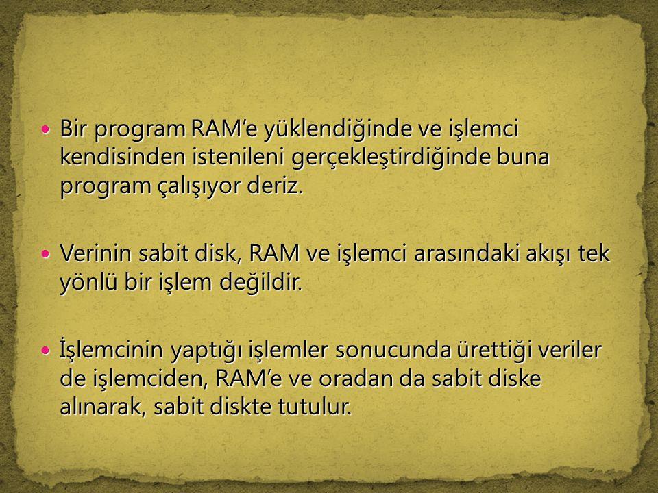 Bir program RAM'e yüklendiğinde ve işlemci kendisinden istenileni gerçekleştirdiğinde buna program çalışıyor deriz.