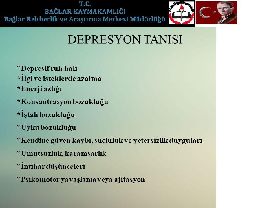 DEPRESYON TANISI *Depresif ruh hali *İlgi ve isteklerde azalma