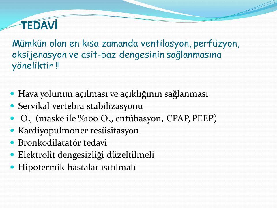 TEDAVİ Mümkün olan en kısa zamanda ventilasyon, perfüzyon, oksijenasyon ve asit-baz dengesinin sağlanmasına yöneliktir ‼