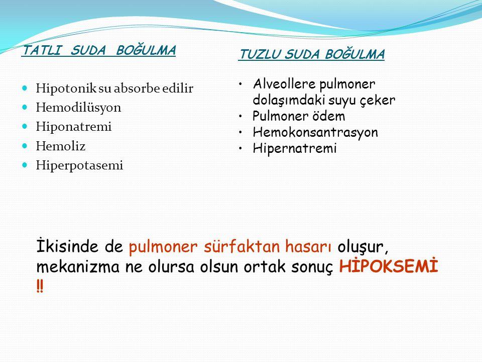 TATLI SUDA BOĞULMA Hipotonik su absorbe edilir. Hemodilüsyon. Hiponatremi. Hemoliz. Hiperpotasemi.