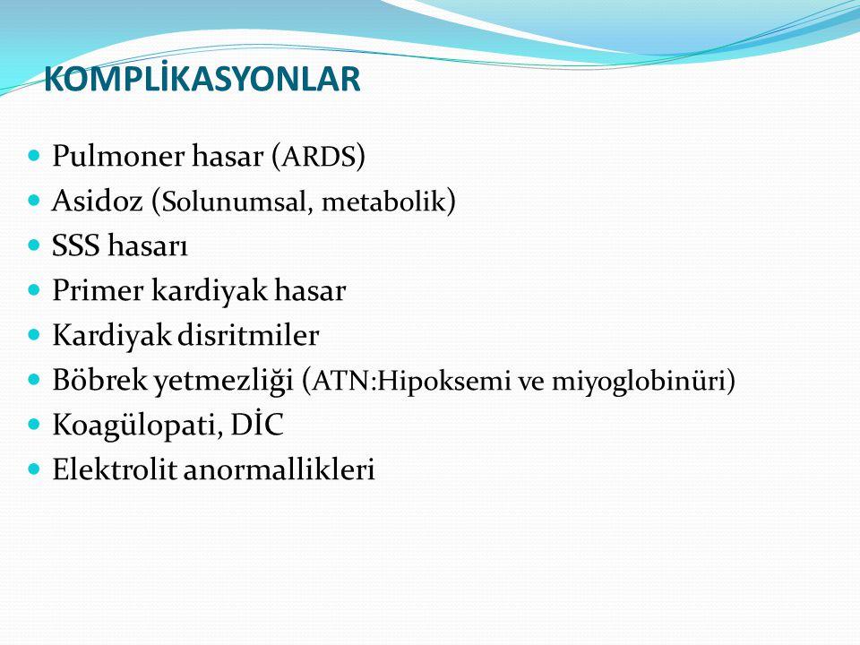 KOMPLİKASYONLAR Pulmoner hasar (ARDS) Asidoz (Solunumsal, metabolik)