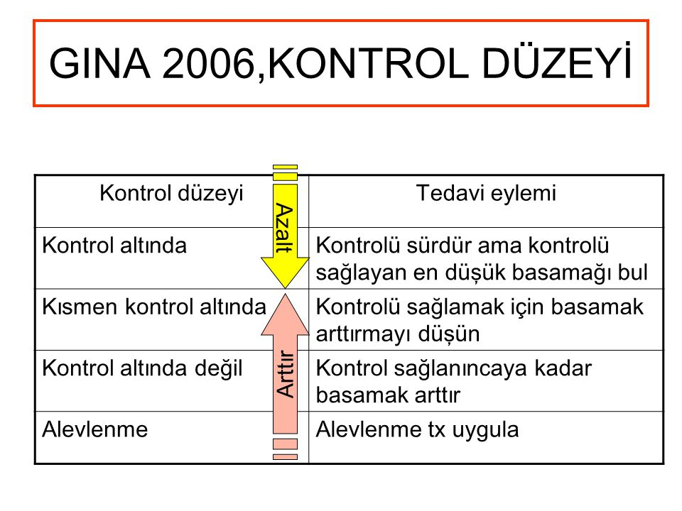 GINA 2006,KONTROL DÜZEYİ Kontrol düzeyi Tedavi eylemi Kontrol altında