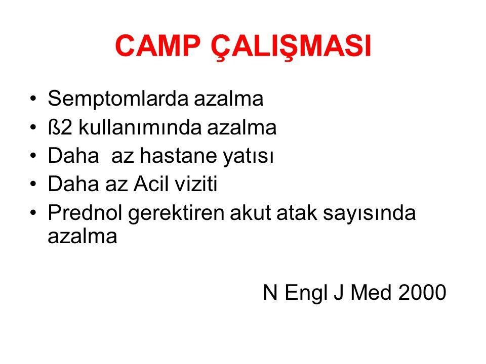 CAMP ÇALIŞMASI Semptomlarda azalma ß2 kullanımında azalma
