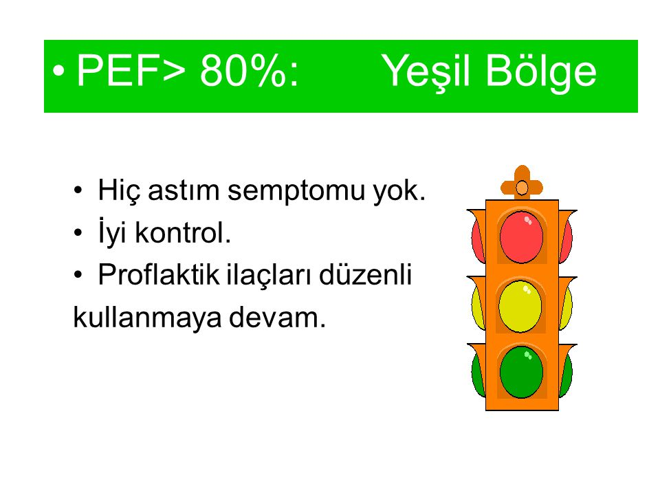 PEF> 80%: Yeşil Bölge Hiç astım semptomu yok. İyi kontrol.