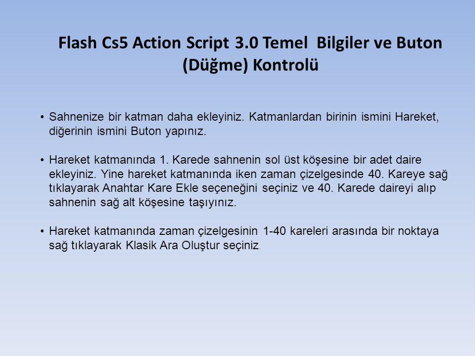 Flash Cs5 Action Script 3.0 Temel Bilgiler ve Buton (Düğme) Kontrolü