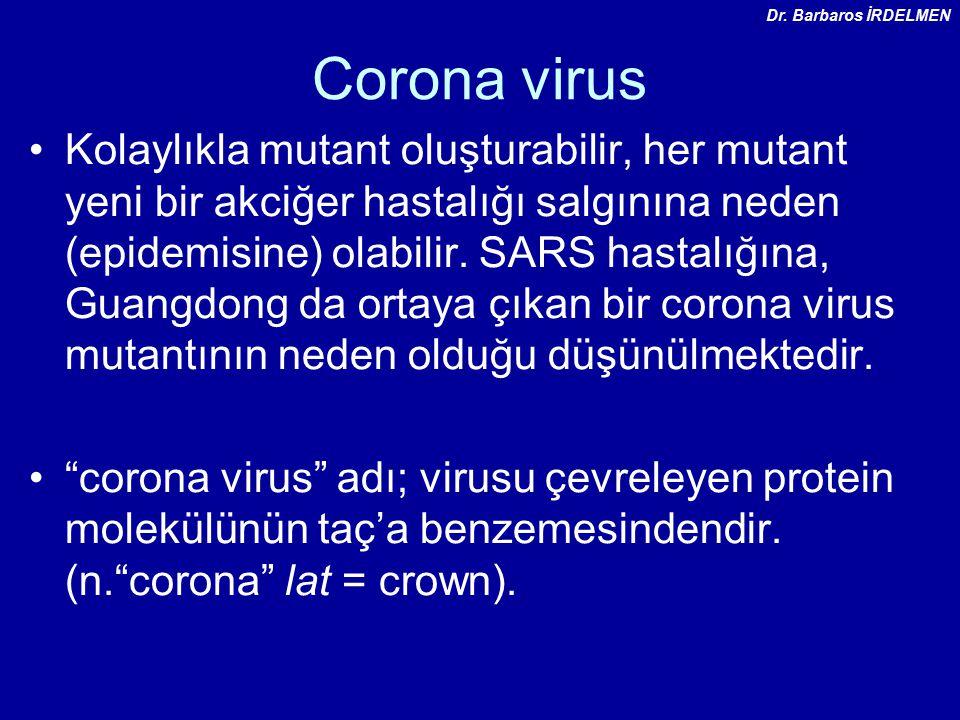 Dr. Barbaros İRDELMEN Corona virus.