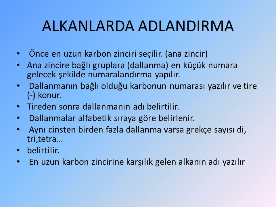 ALKANLARDA ADLANDIRMA