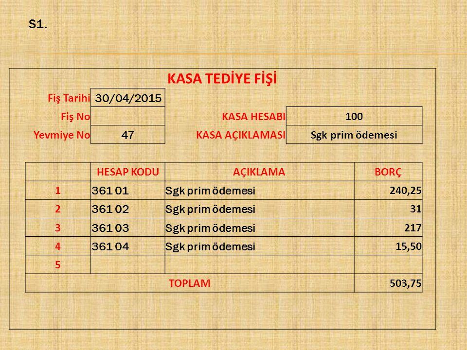 KASA TEDİYE FİŞİ S1. Fiş Tarihi 30/04/2015 Fiş No KASA HESABI 100