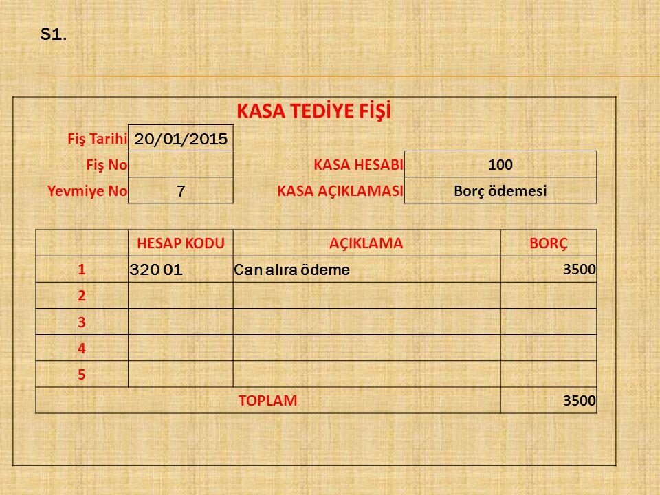 KASA TEDİYE FİŞİ S1. Fiş Tarihi 20/01/2015 Fiş No KASA HESABI 100
