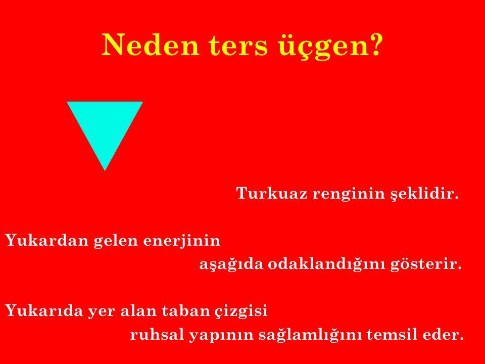 Neden ters üçgen Turkuaz renginin şeklidir. Yukardan gelen enerjinin