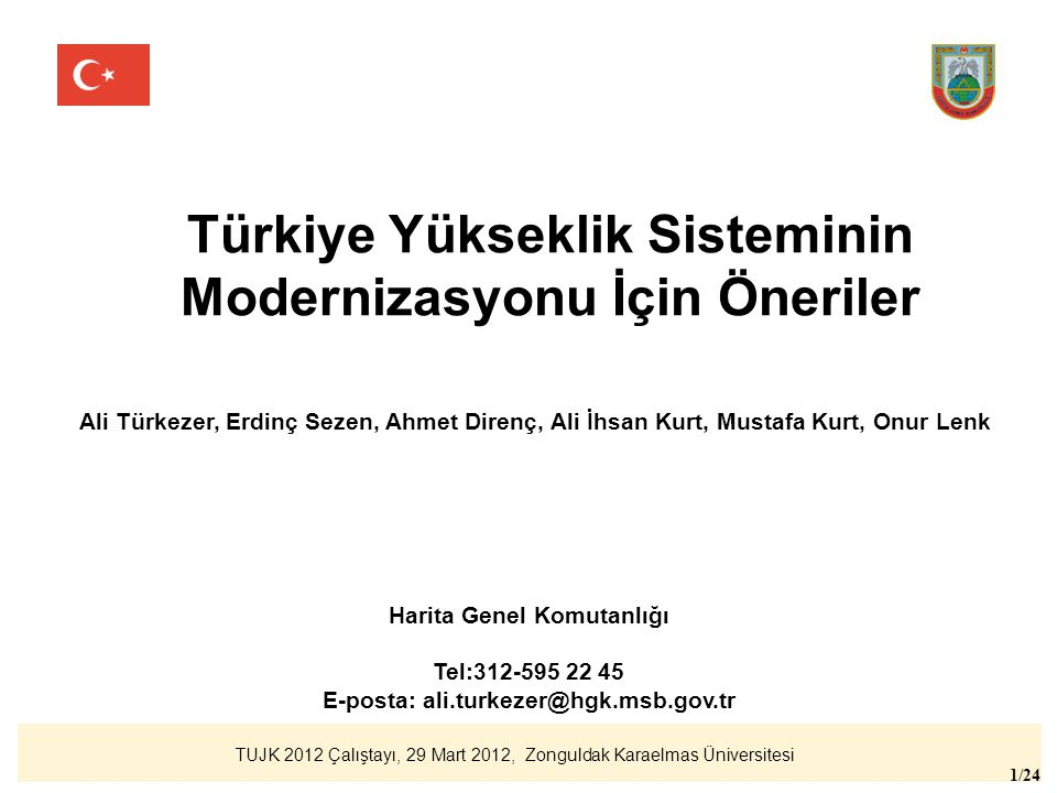 Türkiye Yükseklik Sisteminin Modernizasyonu İçin Öneriler
