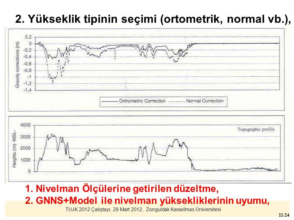 2. Yükseklik tipinin seçimi (ortometrik, normal vb.),