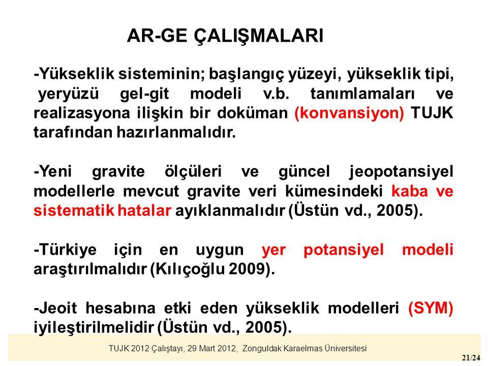 AR-GE ÇALIŞMALARI -Yükseklik sisteminin; başlangıç yüzeyi, yükseklik tipi,