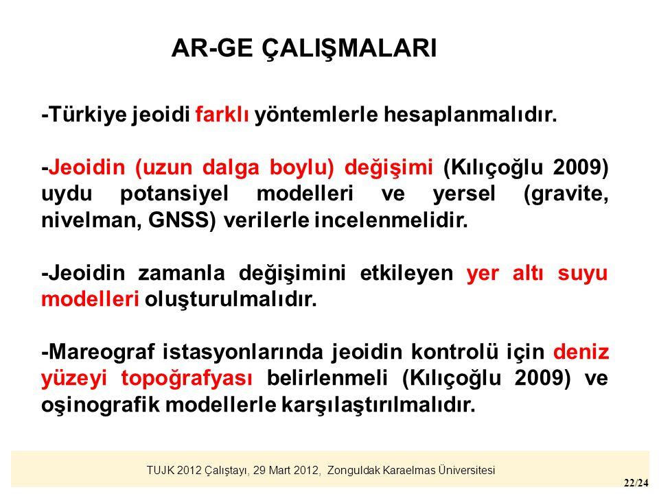 AR-GE ÇALIŞMALARI -Türkiye jeoidi farklı yöntemlerle hesaplanmalıdır.