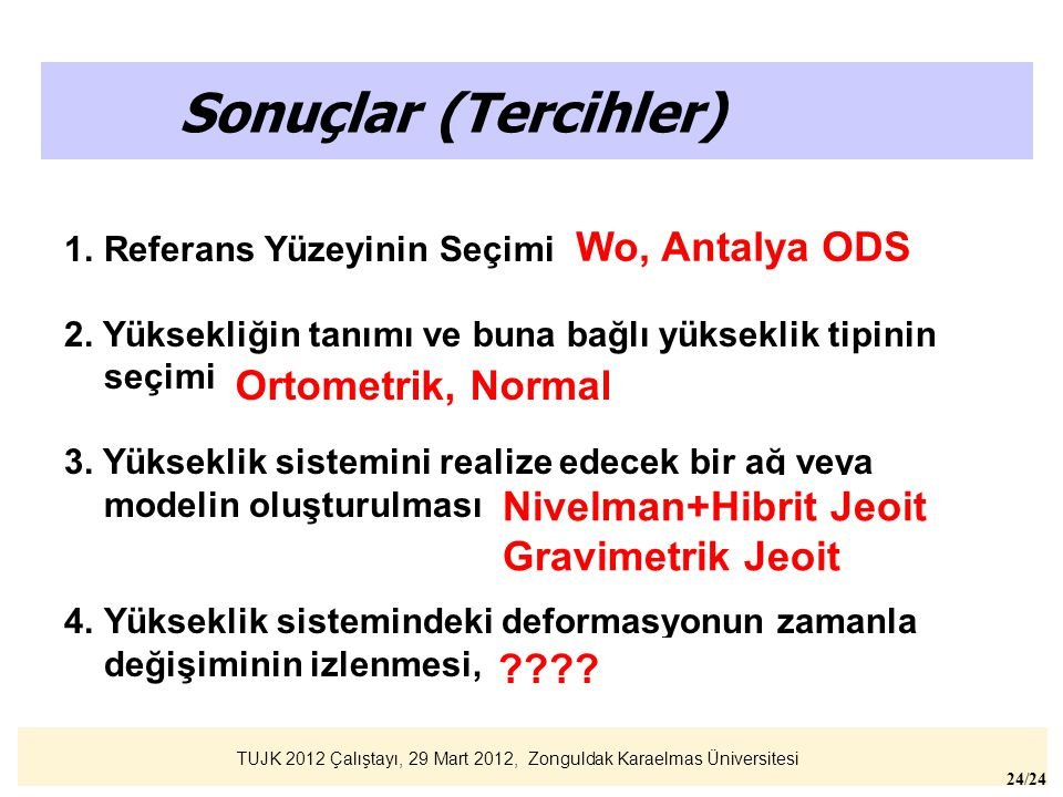 Sonuçlar (Tercihler) Wo, Antalya ODS Ortometrik, Normal