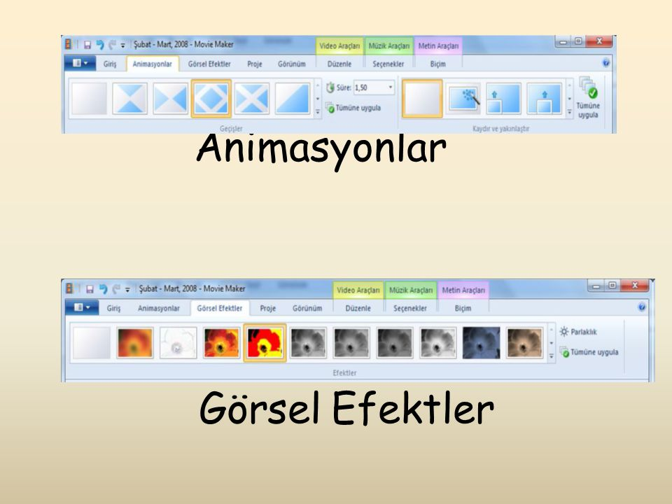 Animasyonlar Görsel Efektler