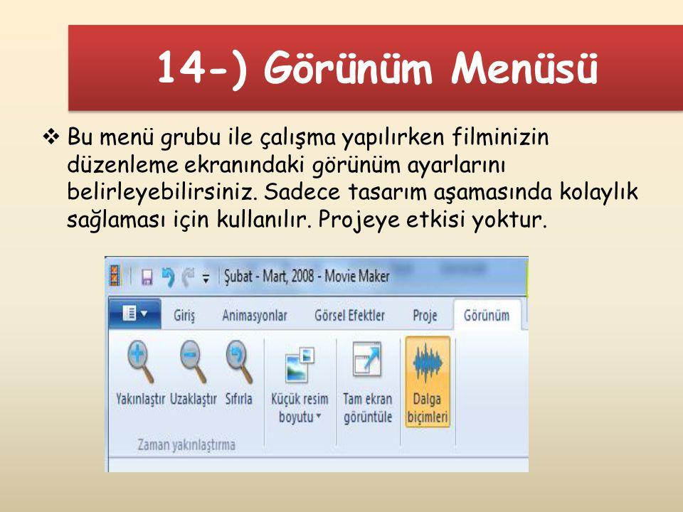 14-) Görünüm Menüsü