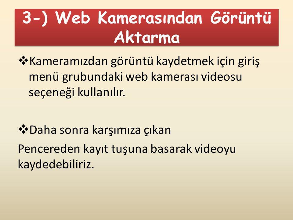 3-) Web Kamerasından Görüntü Aktarma