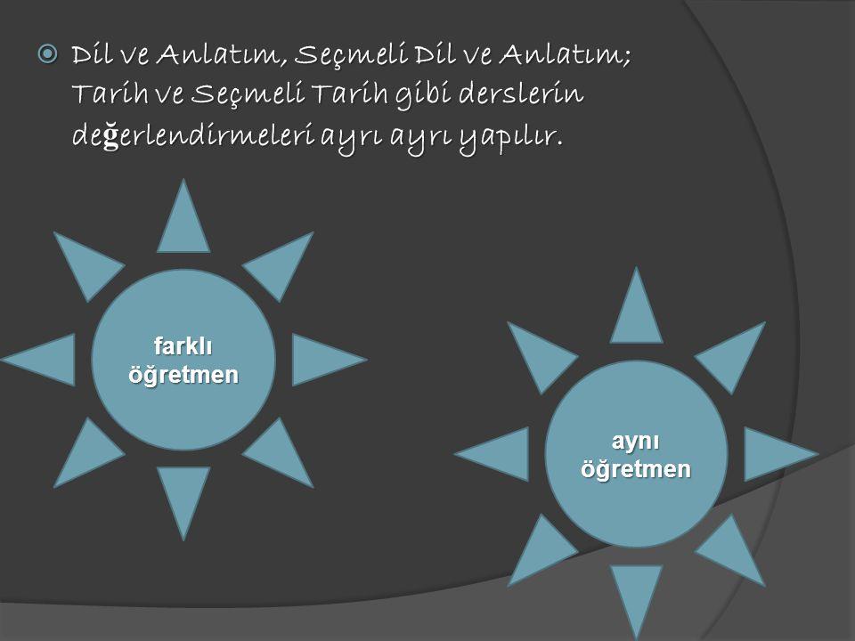 Dil ve Anlatım, Seçmeli Dil ve Anlatım; Tarih ve Seçmeli Tarih gibi derslerin değerlendirmeleri ayrı ayrı yapılır.