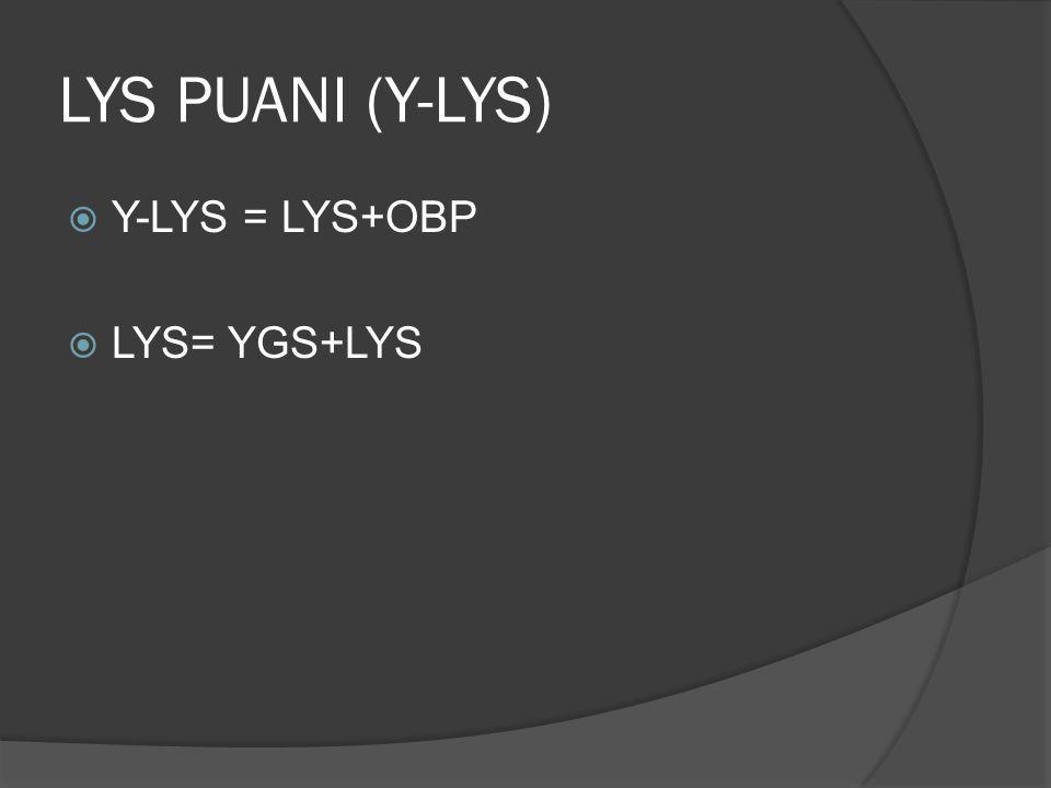 LYS PUANI (Y-LYS) Y-LYS = LYS+OBP LYS= YGS+LYS