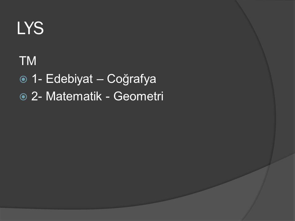 LYS TM 1- Edebiyat – Coğrafya 2- Matematik - Geometri