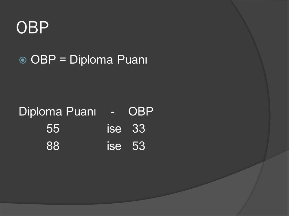 OBP OBP = Diploma Puanı Diploma Puanı - OBP 55 ise 33 88 ise 53