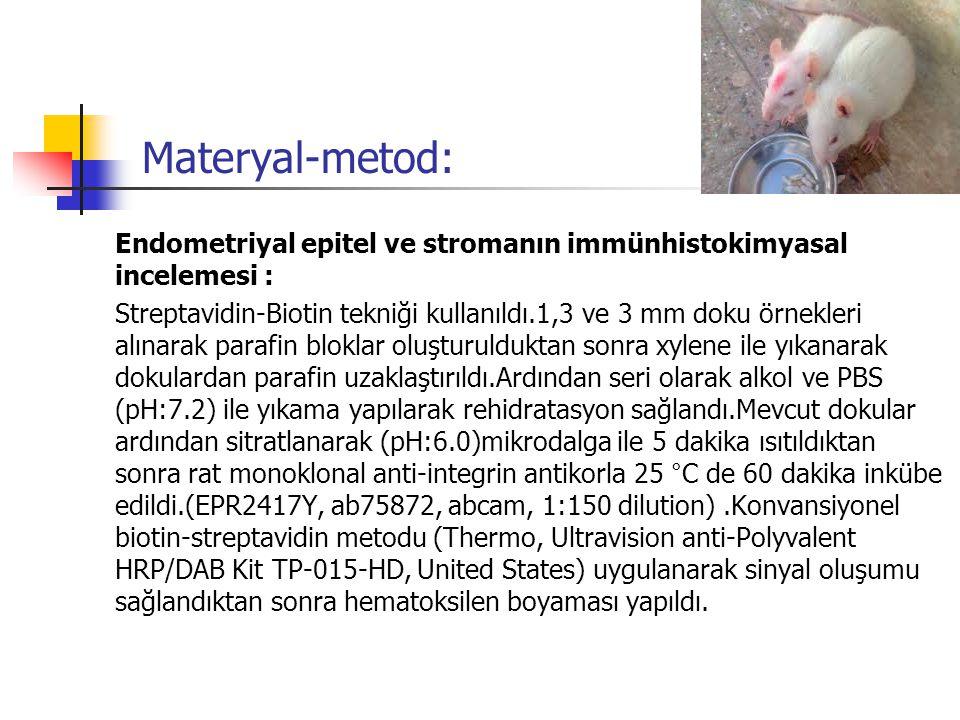 Materyal-metod: Endometriyal epitel ve stromanın immünhistokimyasal incelemesi :