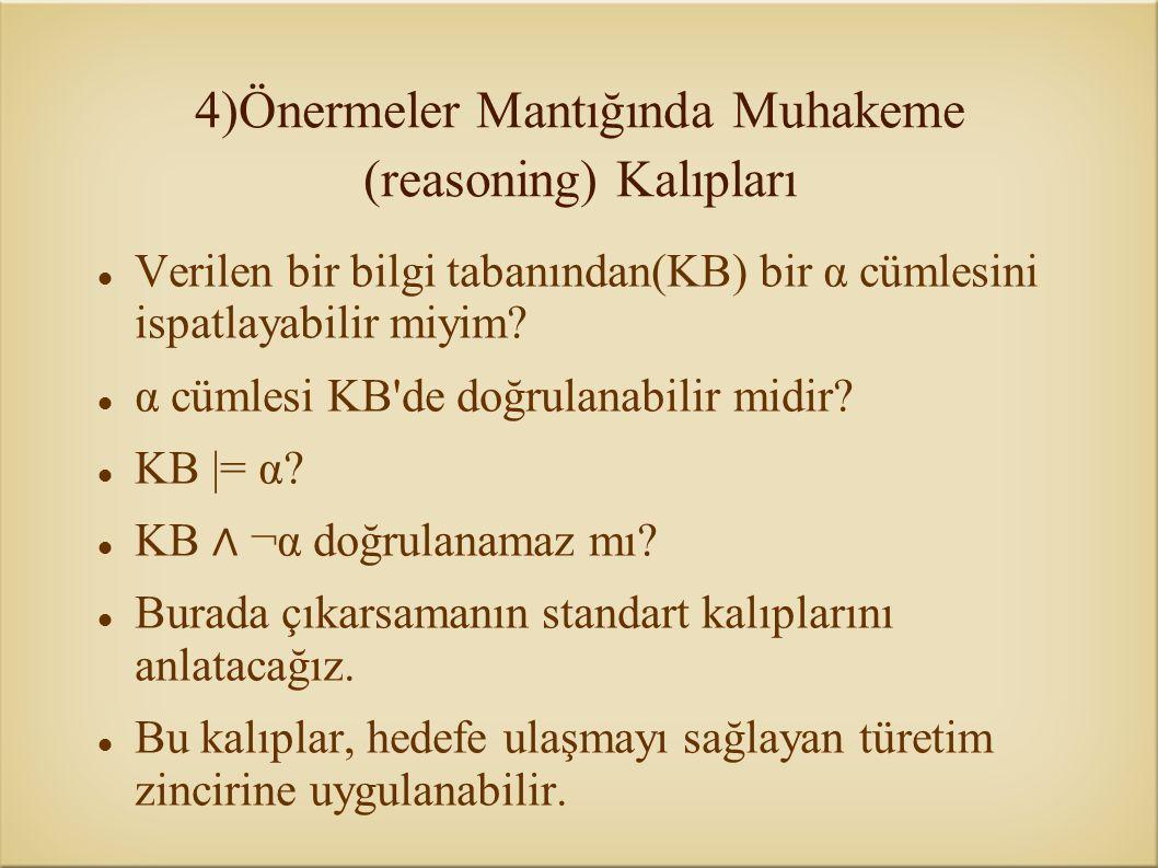 4)Önermeler Mantığında Muhakeme (reasoning) Kalıpları