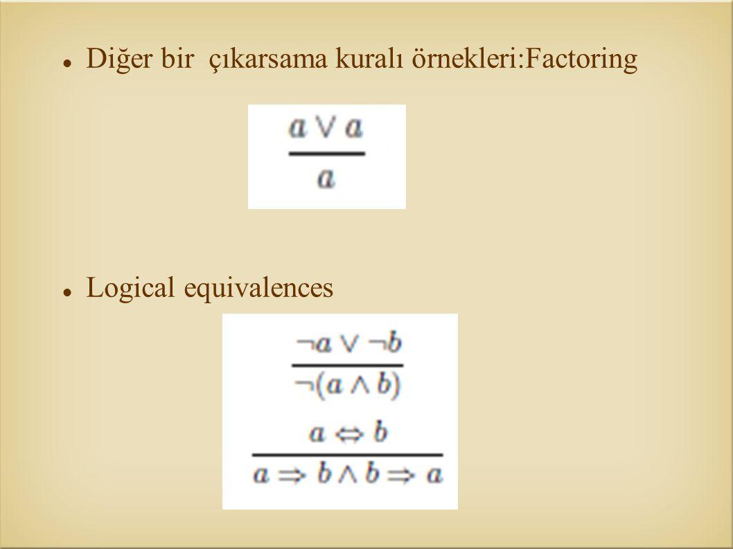 Diğer bir çıkarsama kuralı örnekleri:Factoring