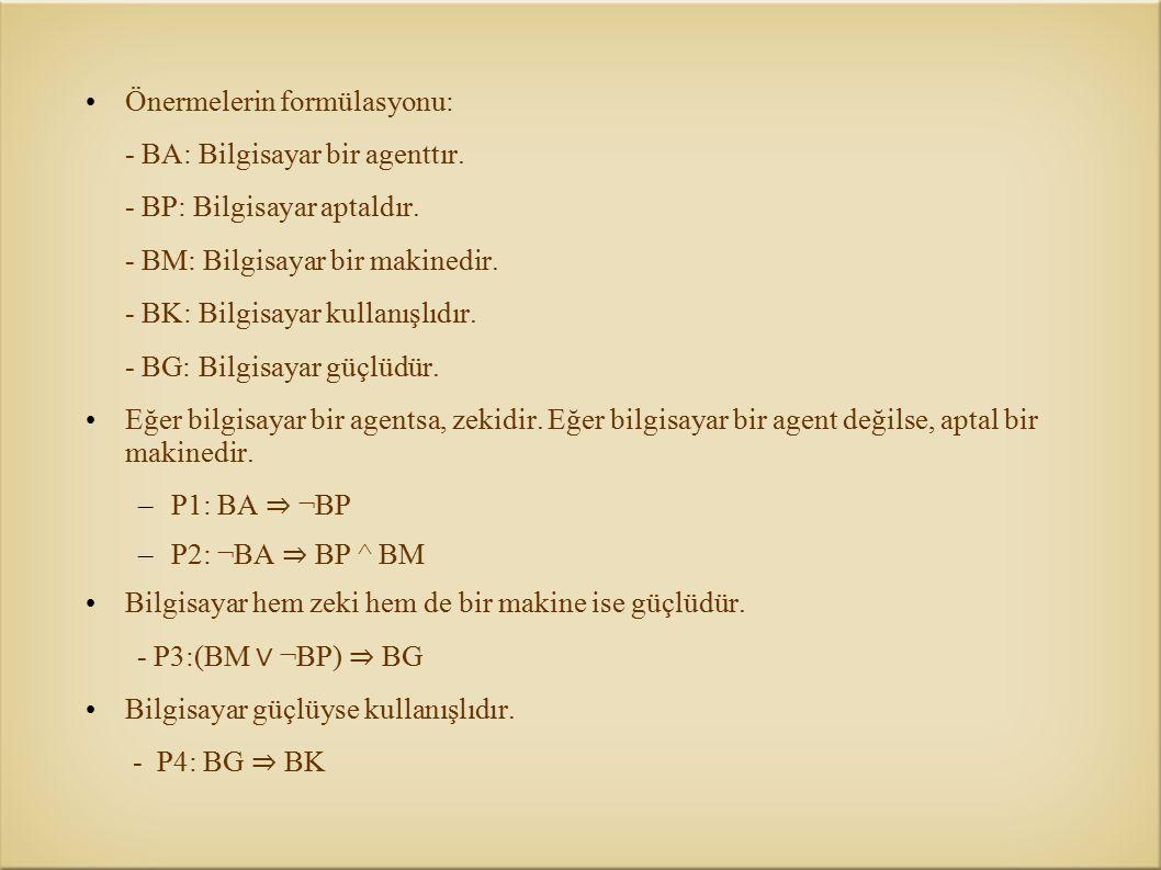 Önermelerin formülasyonu: