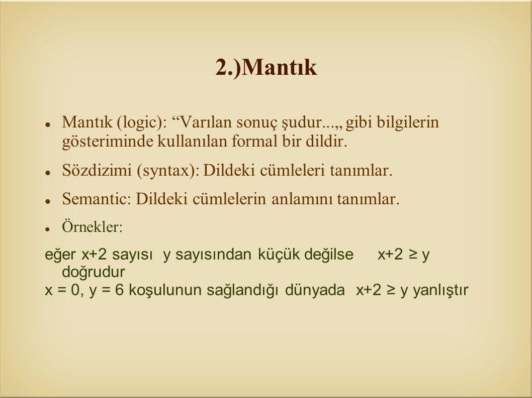 """2.)Mantık Mantık (logic): Varılan sonuç şudur..."""" gibi bilgilerin gösteriminde kullanılan formal bir dildir."""