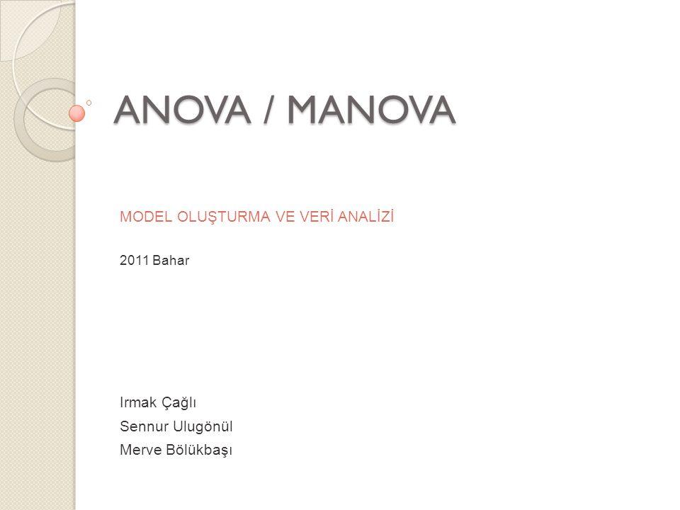 ANOVA / MANOVA MODEL OLUŞTURMA VE VERİ ANALİZİ Irmak Çağlı