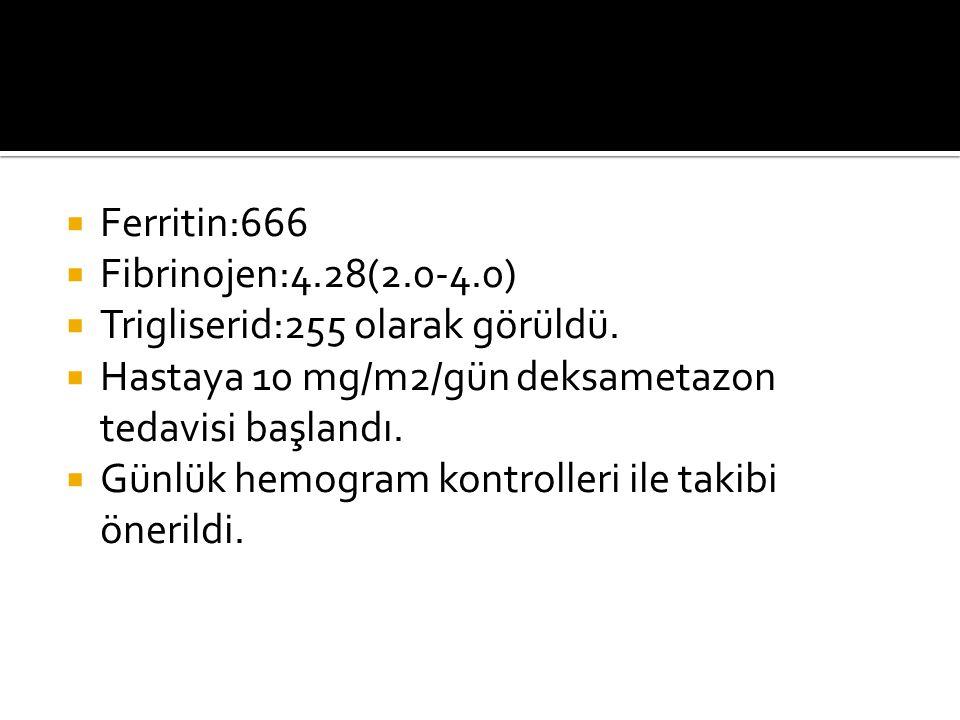 Ferritin:666 Fibrinojen:4.28(2.0-4.0) Trigliserid:255 olarak görüldü. Hastaya 10 mg/m2/gün deksametazon tedavisi başlandı.