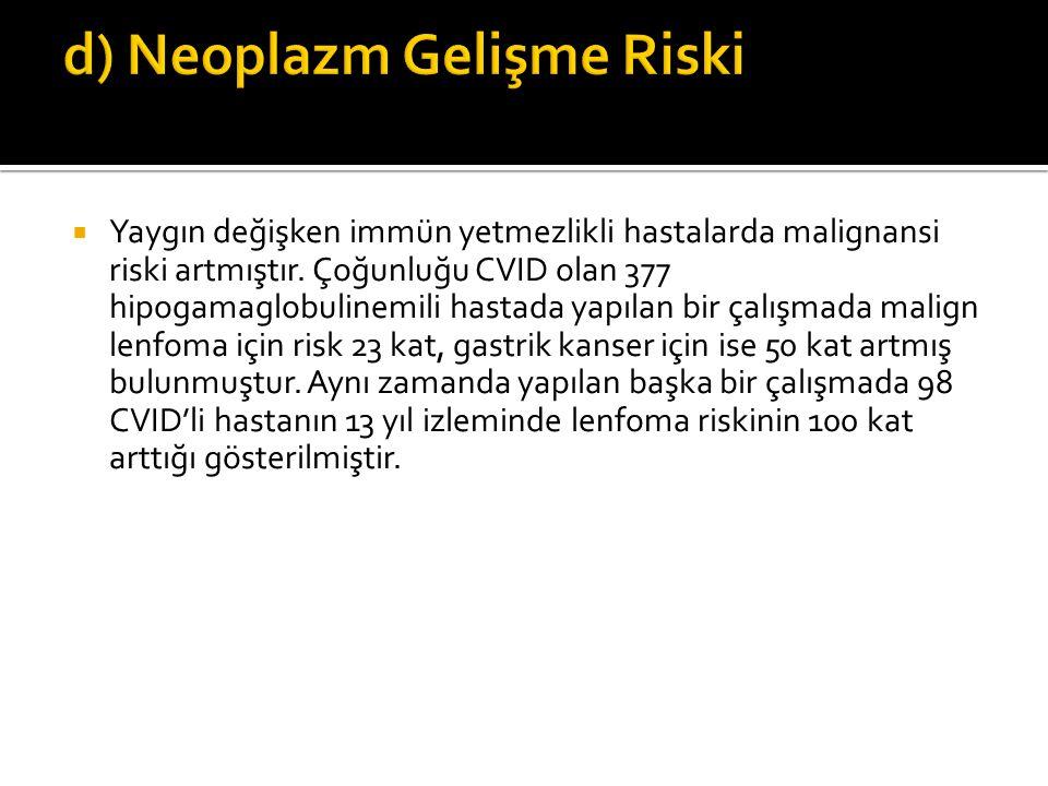 d) Neoplazm Gelişme Riski