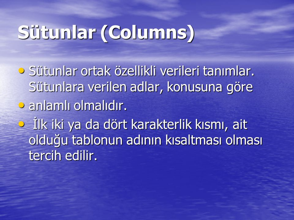 Sütunlar (Columns) Sütunlar ortak özellikli verileri tanımlar. Sütunlara verilen adlar, konusuna göre.