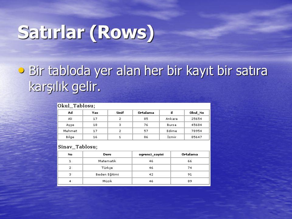 Satırlar (Rows) Bir tabloda yer alan her bir kayıt bir satıra karşılık gelir.