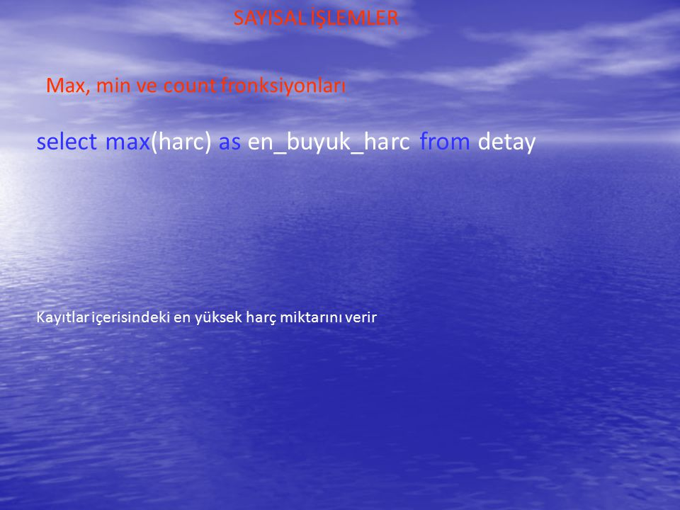 select max(harc) as en_buyuk_harc from detay