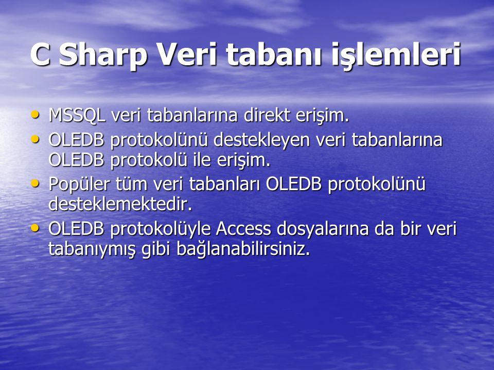 C Sharp Veri tabanı işlemleri